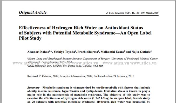 Hiệu quả của tính năng chống ô xy hóa của nước giàu hydro