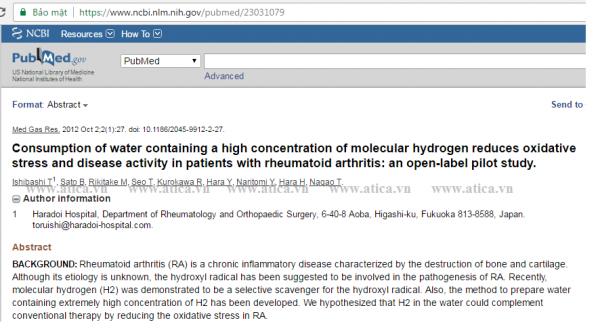 Hiệu quả của nước giàu hydro và bệnh nhân viêm khớp dạng thấp