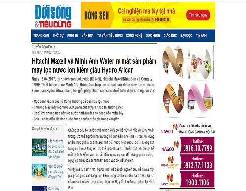 Báo Đời sống & Tiêu dùng nói về sự ra mắt của máy lọc nước ion kiềm giàu hydro Atica của Minh Anh