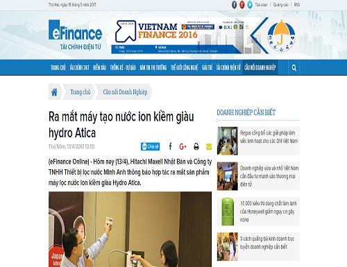 Báo tài chính điện tử đưa tin sự kiện Minh Anh ra mắt máy lọc nước ion kiềm giàu Hydro