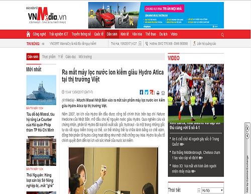 Báo VN Media đưa tin về sự kiện Minh Anh ra mắt máy lọc nước ion kiềm giàu hydro Atica