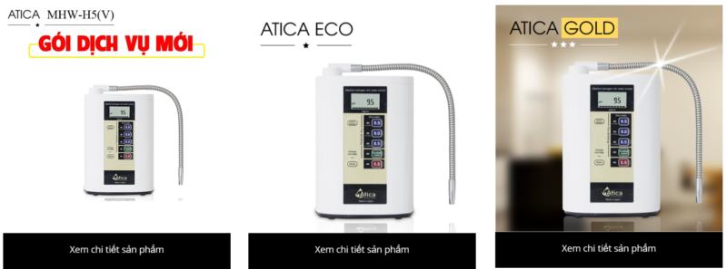 Các model máy lọc nước ion kiềm Atica