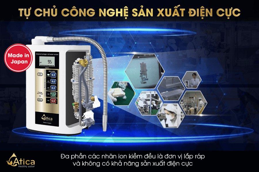 Máy lọc nước ion kiềm giàu hydro Atica tự chủ công nghệ sản xuất điện cực