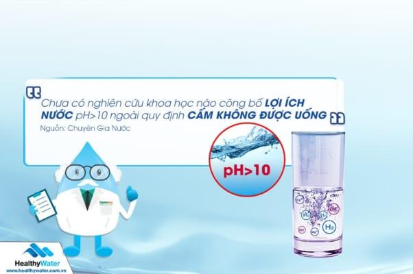 Nước ion kiềm chỉ có tác dụng với sức khỏe tại pH<10